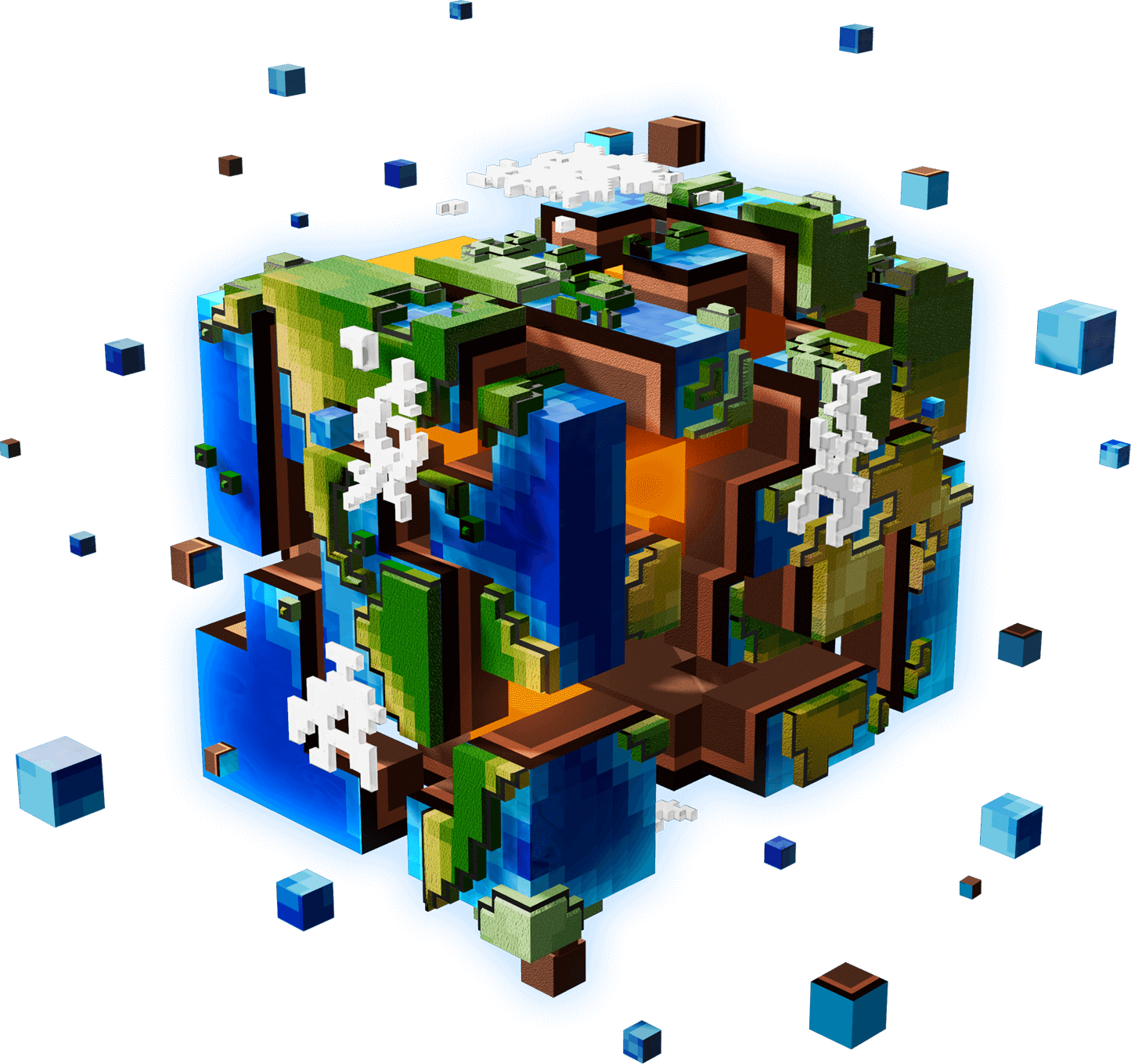 The voxel world of square Earth